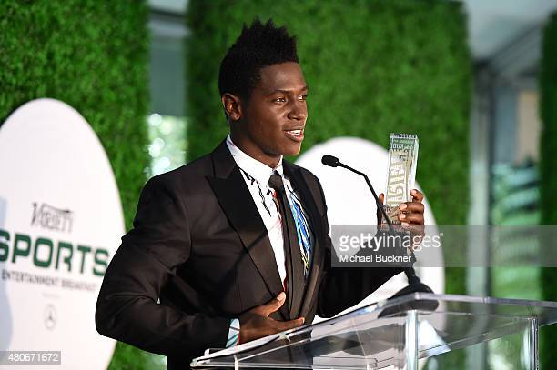 Variety's Male Sports Personality of the Year Antonio Brown speaks onstage at Variety's Sports Entertainment Breakfast presented by MercedesBenz at...