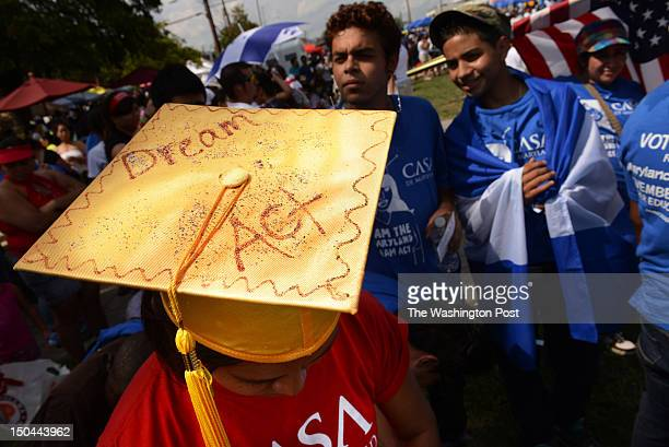 Varinia Sandino of Hyattsville MD is seen wearing a graduation cap with a message of her support of the Maryland Dream Act after she and others took...