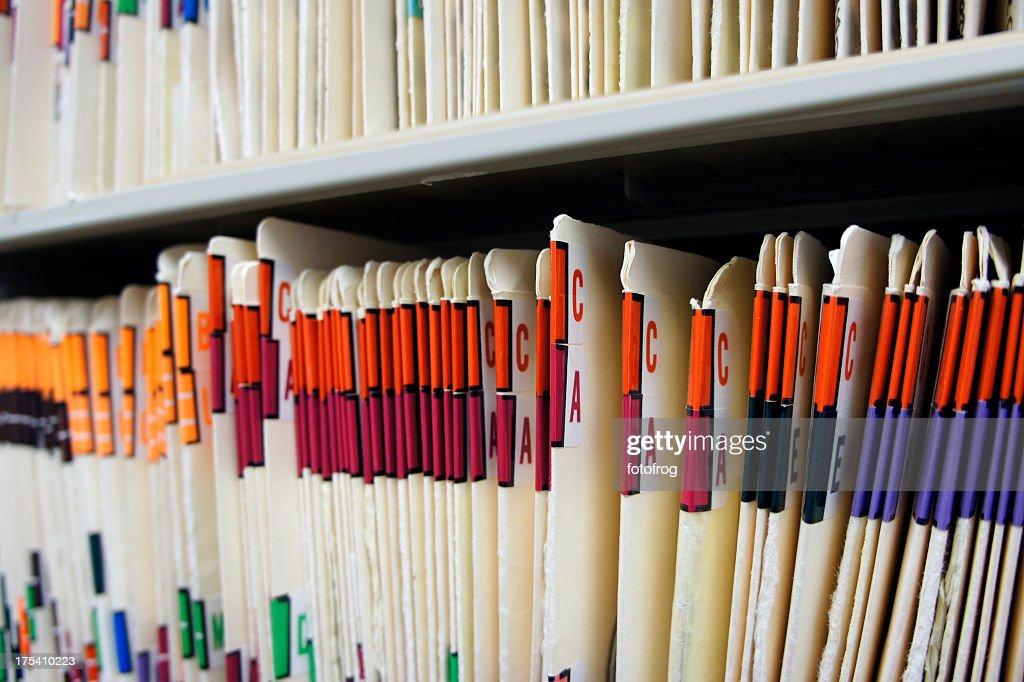 Various alphabetized medical records : Stock Photo