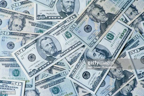 various american dollar bills - us currency stock pictures, royalty-free photos & images