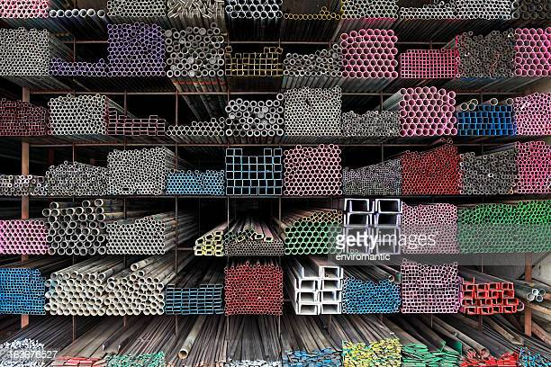 Various angle iron profiles and steel rods.