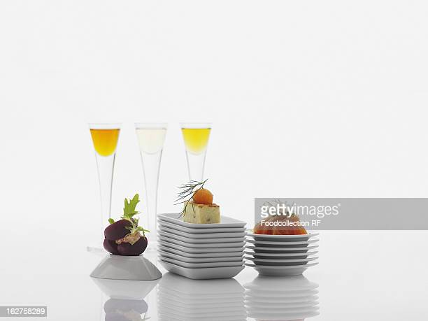 Various appetisers and aperitifs