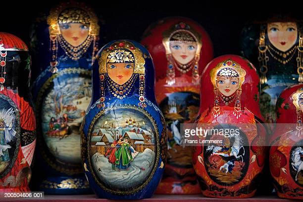 Various Babushka dolls, close-up