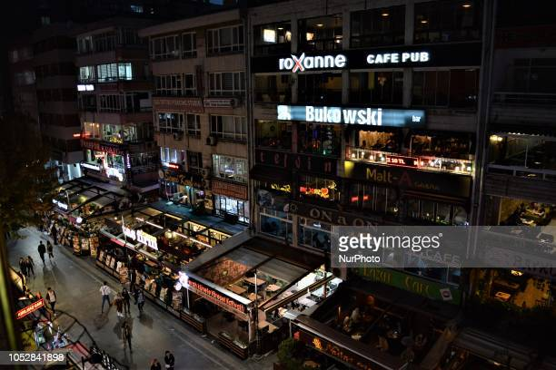 Various bars and pubs are seen around a street in Ankara Turkey on October 23 2018 According to the latest report by the World Health Organization...