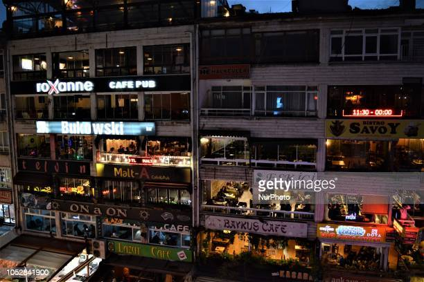 Various bars and pubs are seen in Ankara Turkey on October 23 2018 According to the latest report by the World Health Organization covering 53...