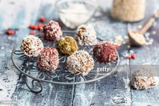 Various Bliss Balls on cooling grid