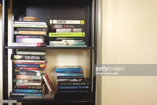 Various books on bookshelf