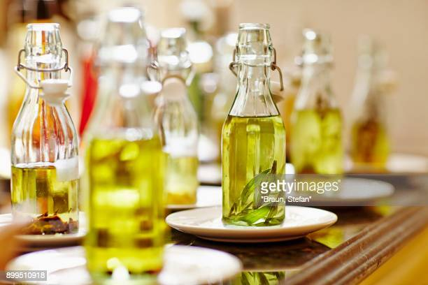 Various bottles of oil for tasting