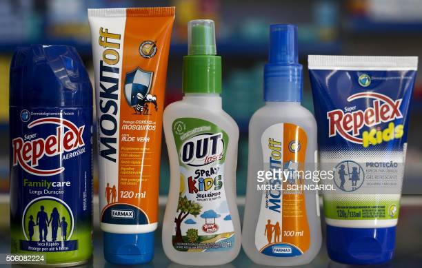 Various brands of repellent are seen in a pharmacy in Sao Paulo Brazil on January 21 2016 In the last three months product prices in some pharmacies...