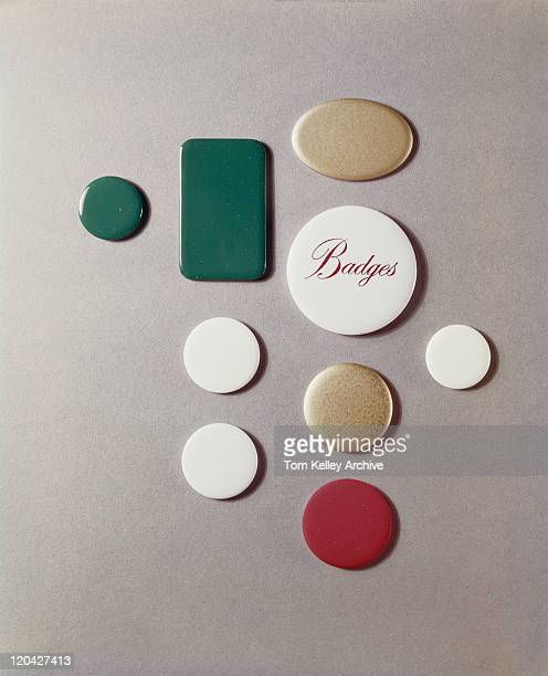 Various button badges, close-up