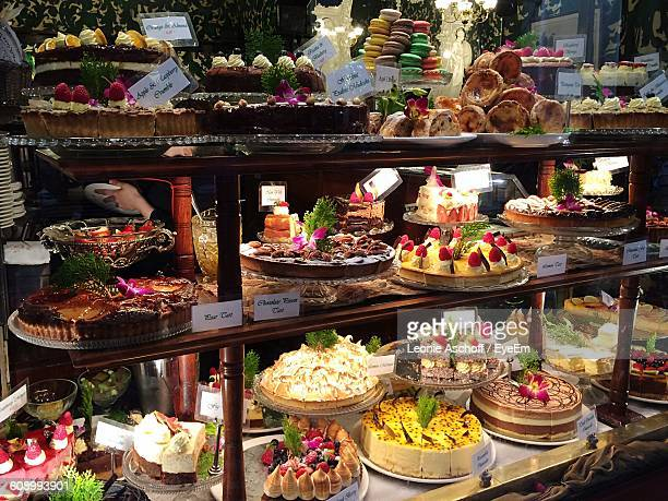 Various Cakes Displayed For Sale In Bakery Shop