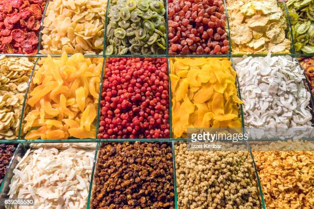 various candied fruit display, spice bazaar eminonu istanbul turkey - dessert topping stock pictures, royalty-free photos & images