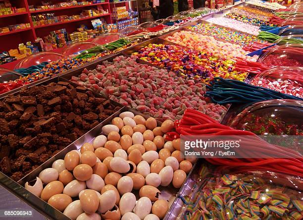 Various Candy For Sale At Market Stall