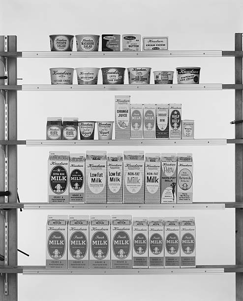 Various carton food on shelf