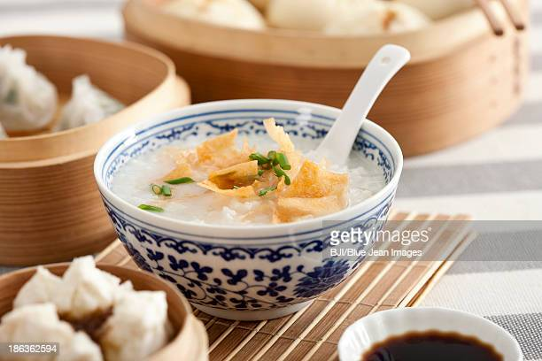 various chinese food - congee stock photos and pictures