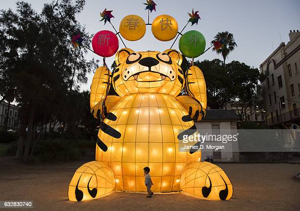 Various chinese lanterns around the harbour to celebrate Chinese New Year on January 27 2017 in Sydney Australia A number of events are being held...