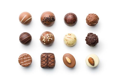 various chocolate pralines 908259584