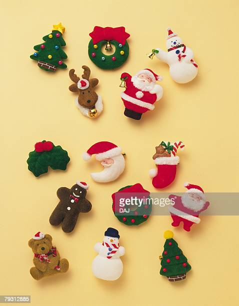Various Christmas ornaments, high angle view