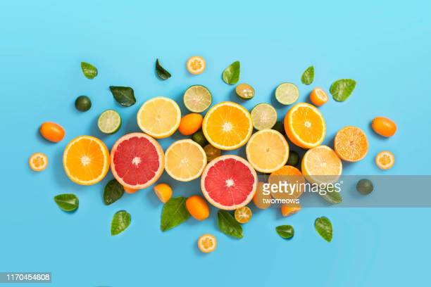 various citrus fruits on blue background. - zitrusfrucht stock-fotos und bilder