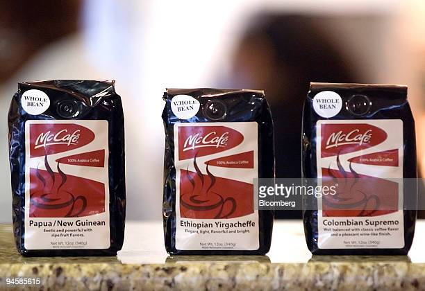 Various coffee beans are displayed at a McDonald's MCCafe in WinstonSalem North Carolina US on Friday Sept 14 2007 McDonald's the world's biggest...