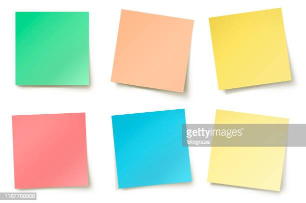 various color adhesive notes - adhesive note stock pictures, royalty-free photos & images