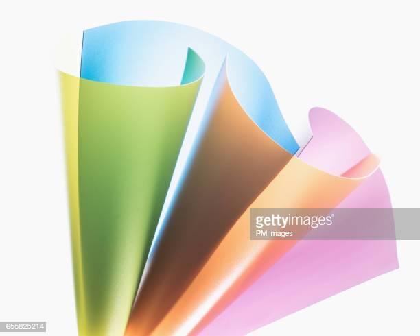 Various colored sheets of plastic, close up