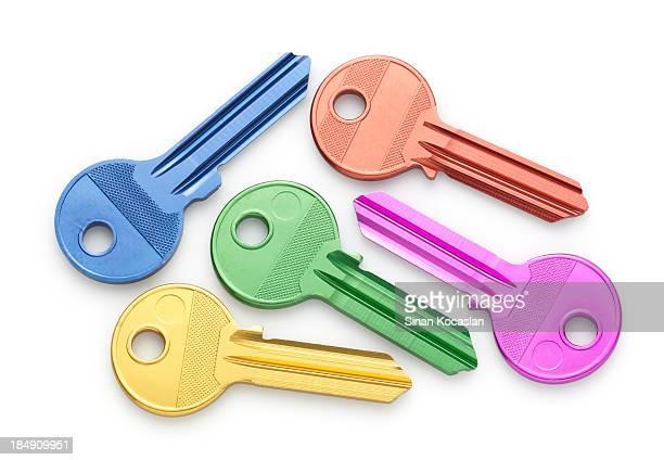 Various colored uncut house keys