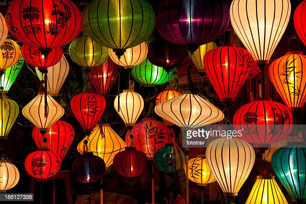 Various, colorful, silk lanterns in Hoi An City, Vietnam