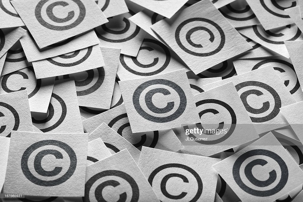 Various copyright sign on a square paper : Stock Photo