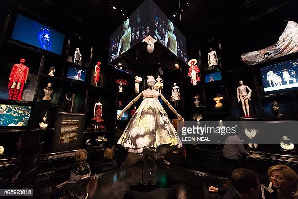 Various creations and designs are on display during a press preview of Alexander McQueen's 'Savage Beauty' exhibition at the Victoria and Albert...