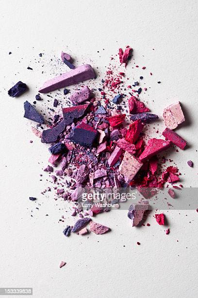 various crushed make-up powder in a heap - eyeshadow stock pictures, royalty-free photos & images