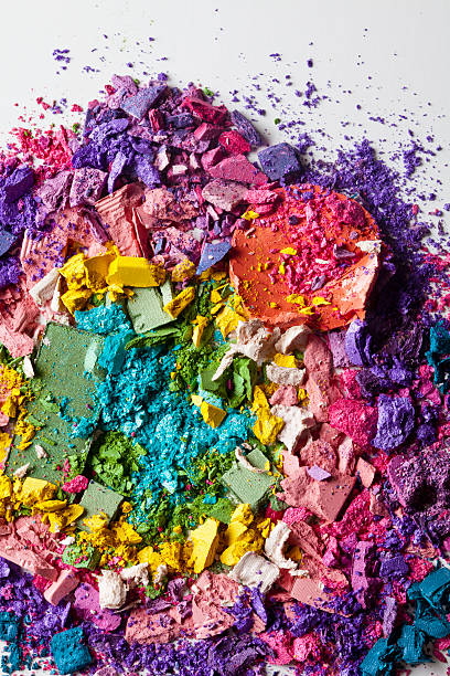 Various Crushed Up Make-up Powder Products Arranged In An Abstract Pattern Wall Art