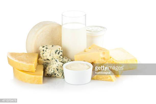 Various dairy products isolated on white backdrop