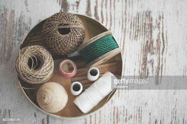 various decorative ropes - knolling - woven stock photos and pictures