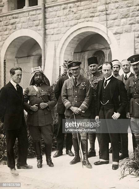 Various dignitaries pose for a portrait standing outside the Government House in Jersualem Jerusalem Palestine 1921 Left to right Colonel TE Lawrence...