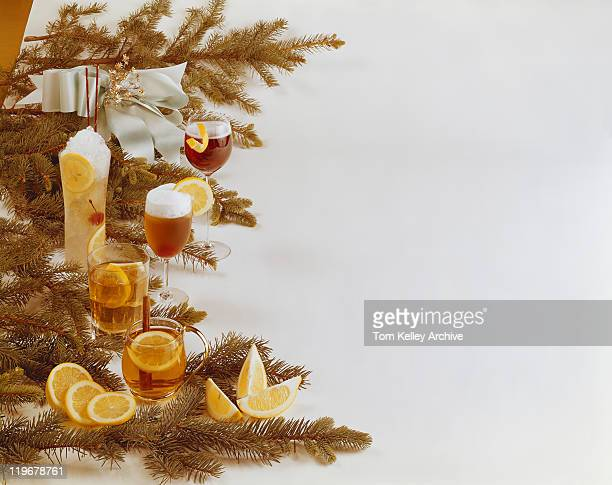 Various drink with Christmas decoration
