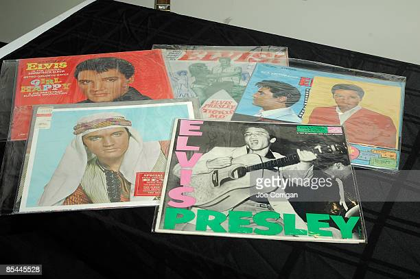 Various Elvis Presley vinyl records at the preview of 'The Elvis Presley Collection' auction at the Rock Roll Hall of Fame Annex on March 16 2009 in...