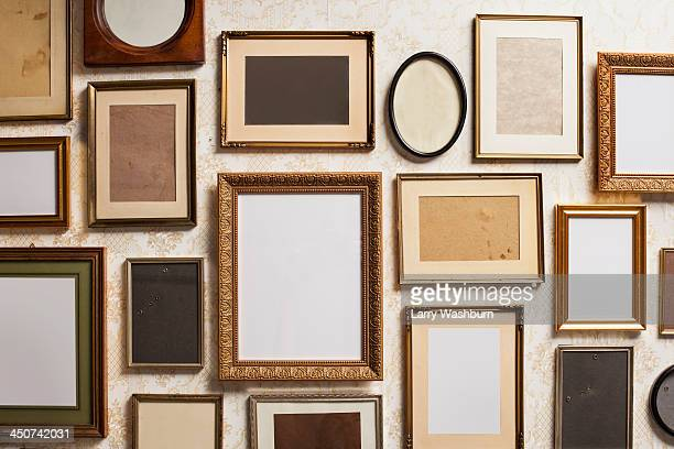 Various empty picture frames, close-up