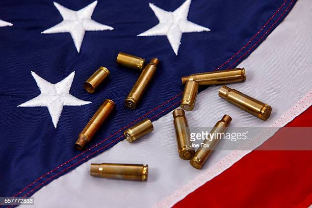Various empty shell casings United States flag