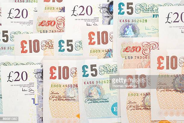 various english pound notes - fifty pound note stock photos and pictures