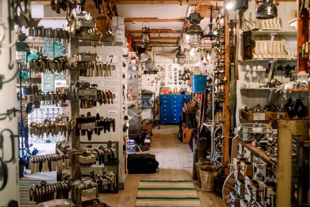 various equipment at illuminated hardware store picture