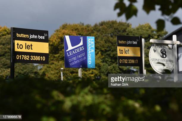 Various Estate Agent, For Sale boards are seen advertising properties for sale, let or sold on October 07, 2020 in Stoke on Trent .