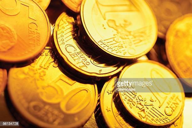Various Euro coins, close-up