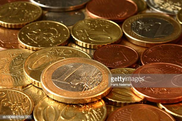 Various Euro coins in pile