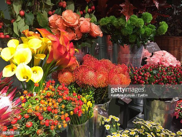 Various Flowers For Sale At Market