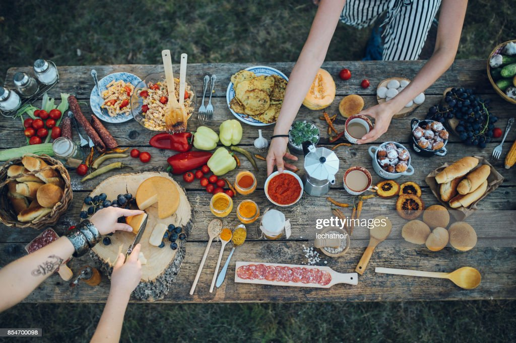 Various food on the old wooden table : Foto stock