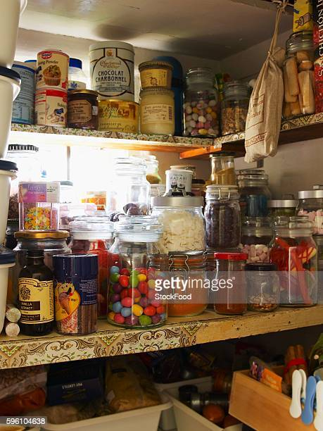 Various foods in a pantry
