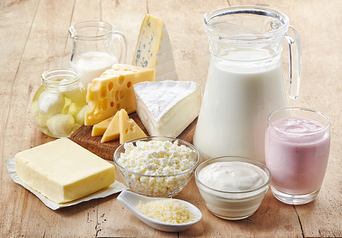 Various fresh dairy products 544807136