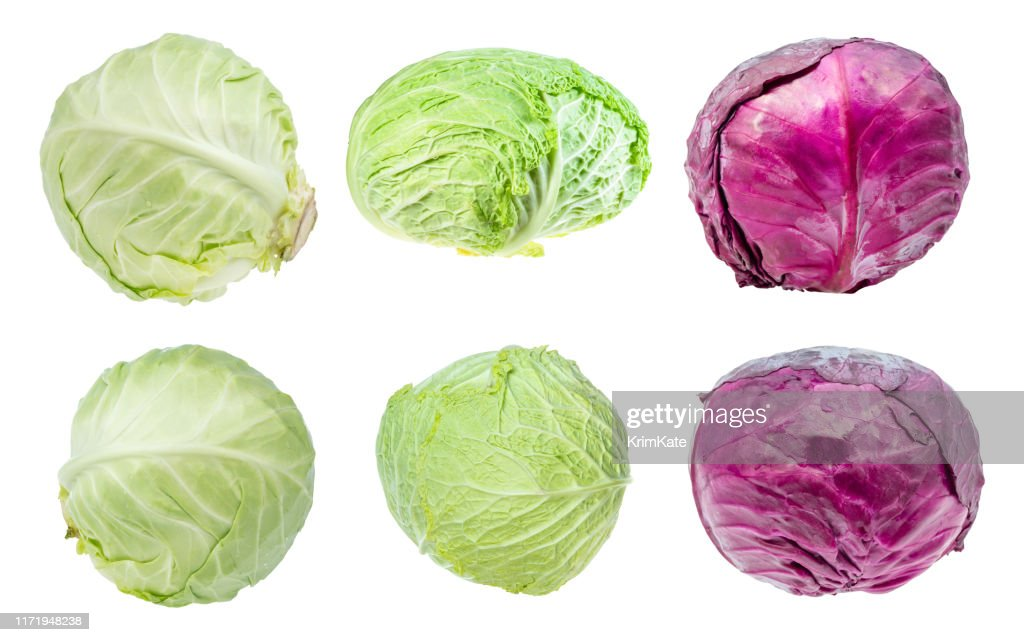 various fresh head cabbages cut out on white : Stock Photo