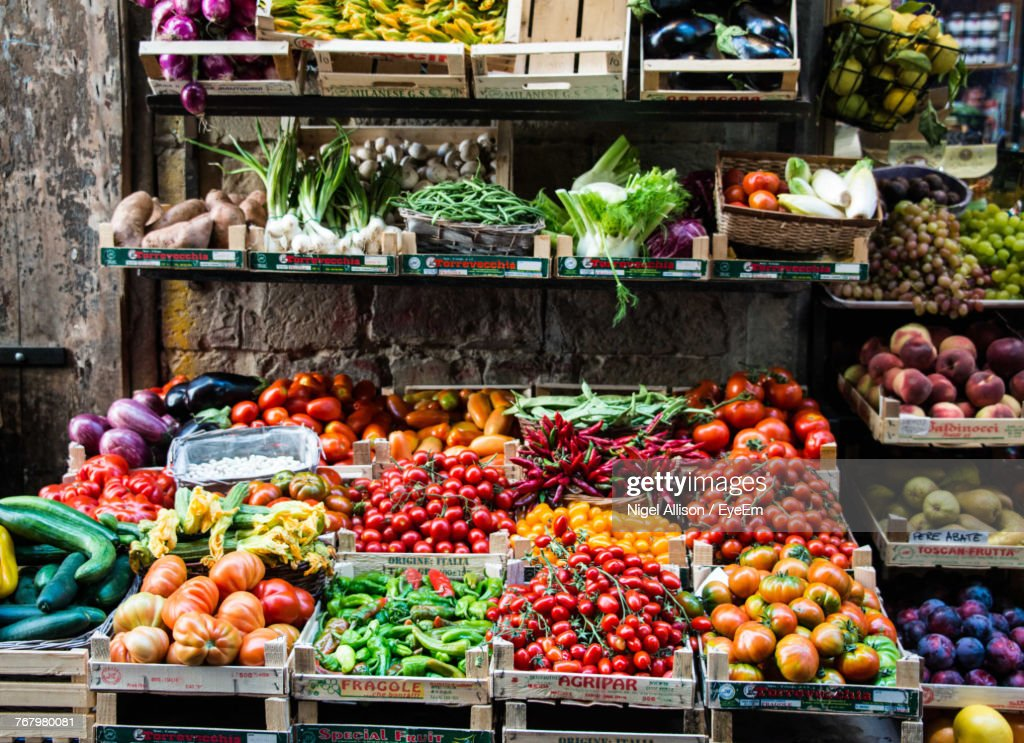 Various Fruits And Vegetables For Sale At Market Stall : Stock Photo
